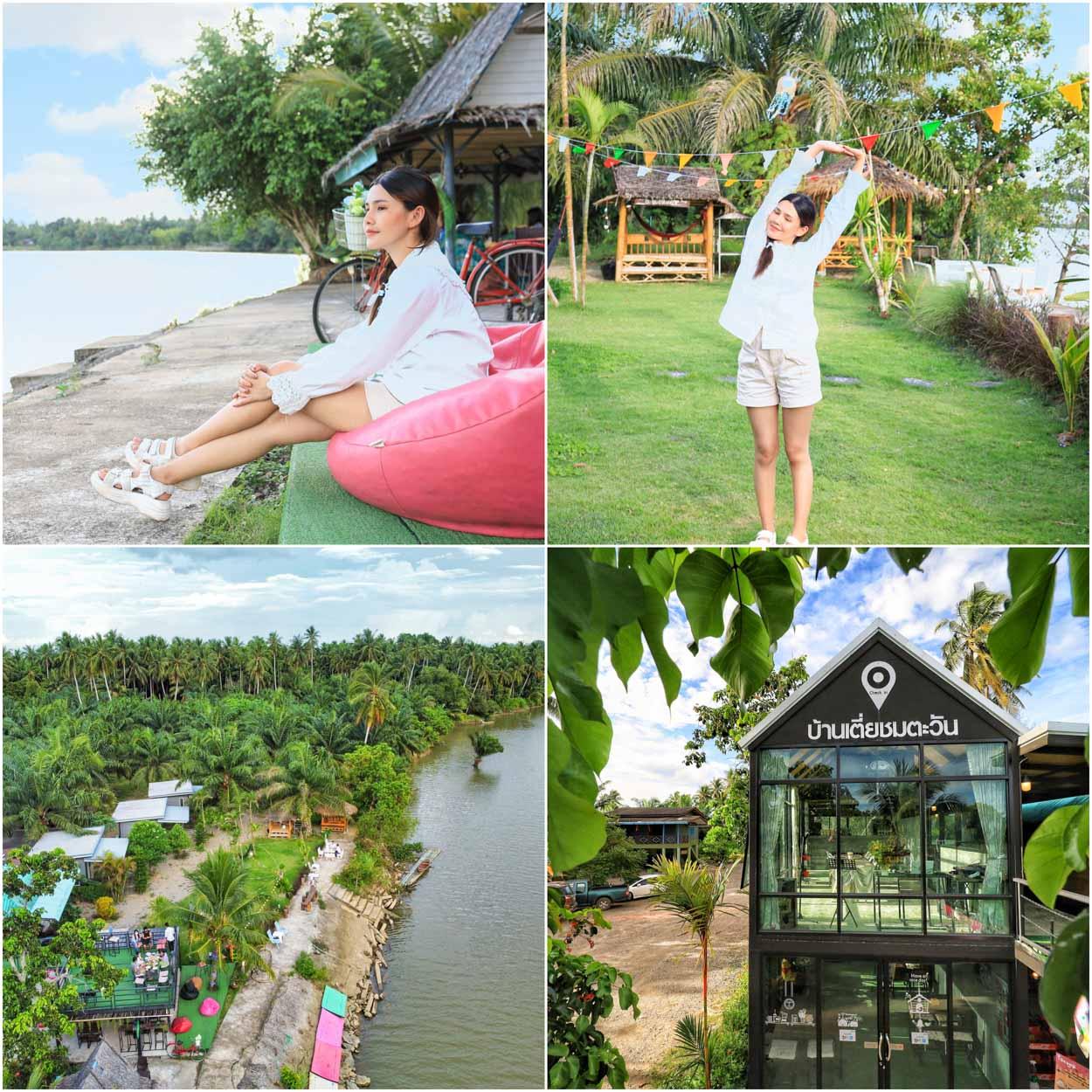 ร้านอาหารบ้านเตี่ยชมตะวัน Baan Tia Chom Tawan at Suratthani จุดเช็คอินชมอาทิตย์ตก ริมแม่น้ำตาปี